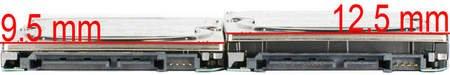 Сравнение моделей с толзиной 12,5 и 9,5 мм. У первого на одну пластину больше.