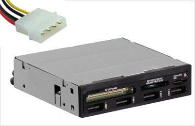 Внутренний хаб и устройство чтения карт памяти с запиткой от разъема Molex